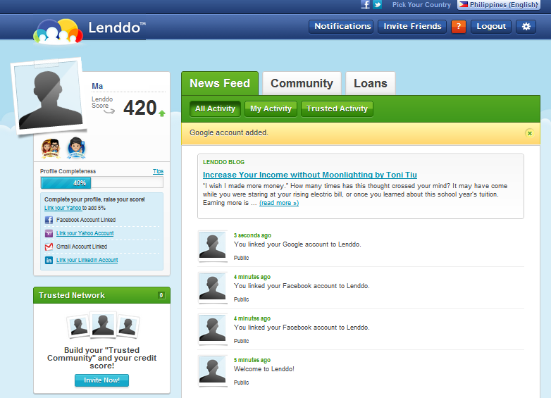 A typical Lenddo user page